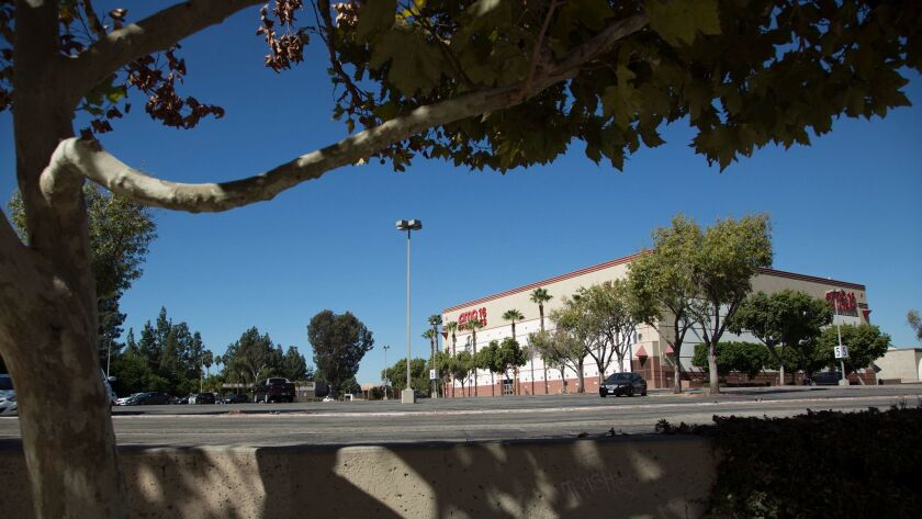 A largely empty parking lot at the mostly closed Promenade mall in Woodland Hills.