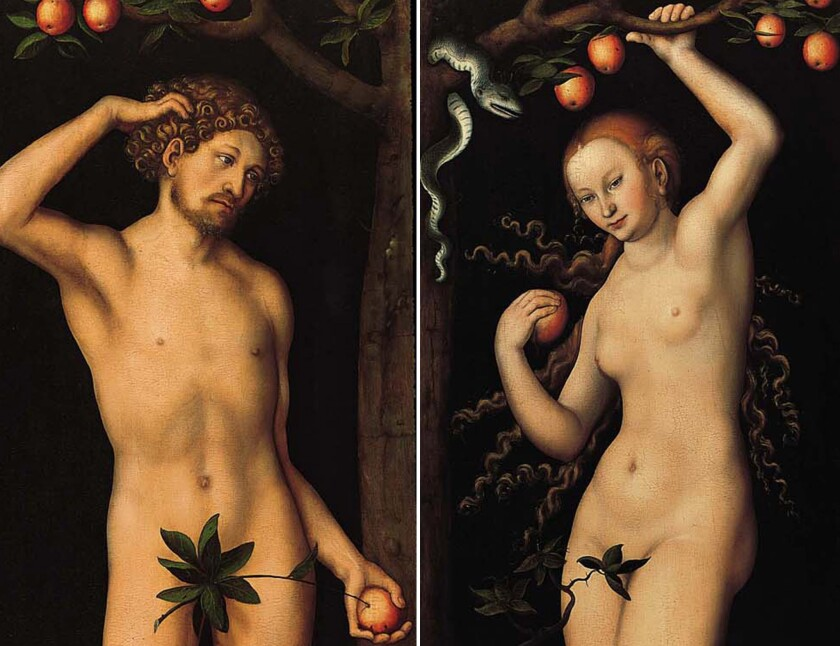 """""""Adam"""" and """"Eve,"""" a diptych of paintings by Lucas Cranach the Elder, was created around 1530."""