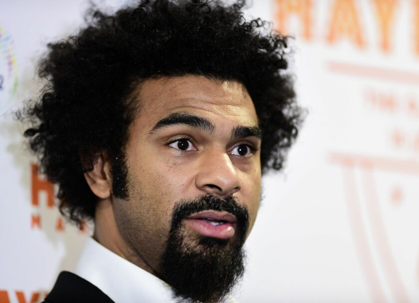 Former World Heavyweight Champion David Haye, during a press conference at the O2, London. Tuesday Nov. 24, 2015. Haye is going to return to boxing with a bout against Mark de Mori of Australia at London's O2 arena next year. Haye will take on the 33-year-old De Mori on Jan. 16, his first fight since beating fellow Briton Dereck Chisora in 2012. (Adam Davy/PA via AP) UNITED KINGDOM OUT