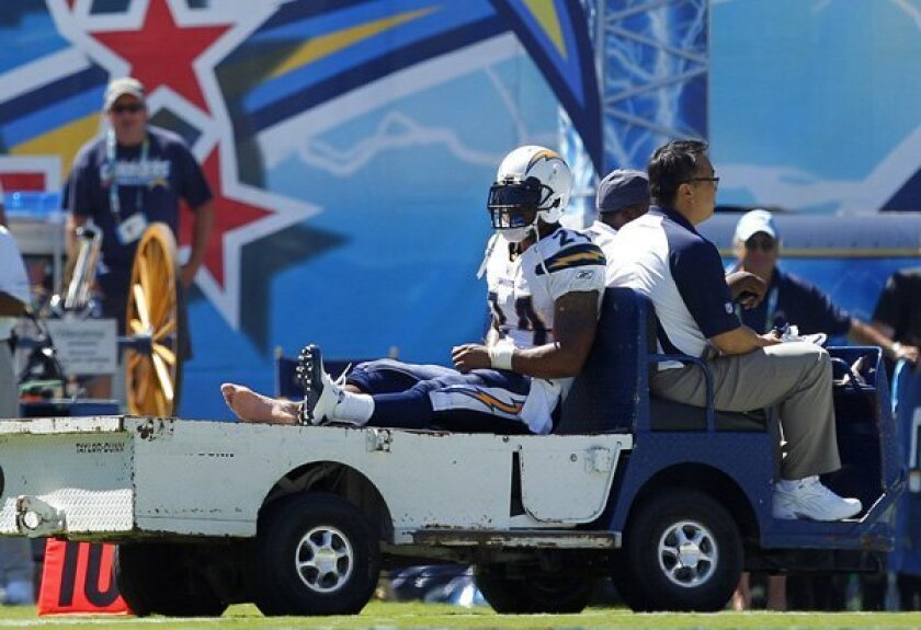 Ryan Mathews being taken to the locker room in 2010 after spraining his ankle against the Seattle Seahawks.
