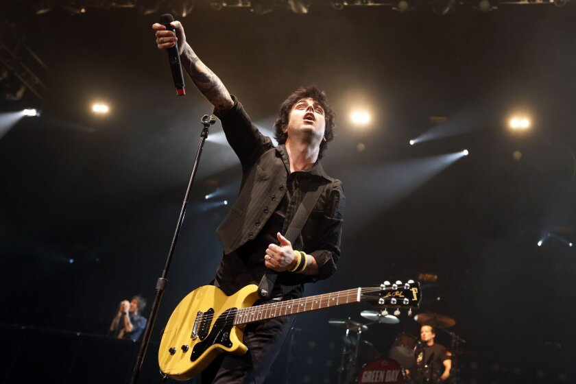 Billy Joe Armstrong during a Green Day concert at the Barclays Center in New York in 2013. The punk trio is one of the 2015 inductees into the Rock and Roll Hall of Fame.