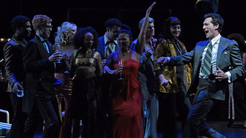 """Aaron Lazar and the company of Stephen Sondheim and George Furth's """"Merrily We Roll Along"""" at the Wallis Annenberg Center for the Performing Arts in Beverly Hills."""