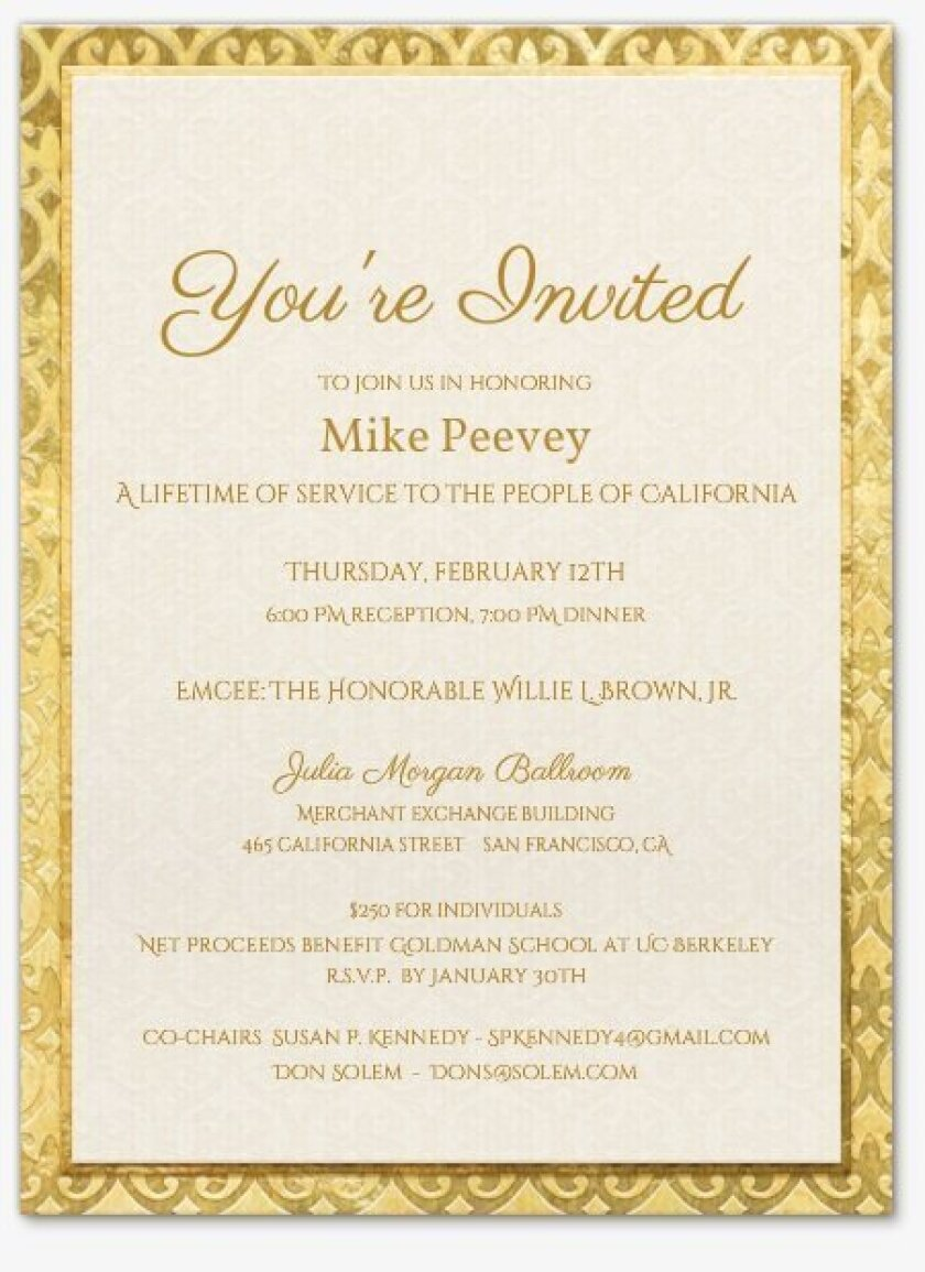 Invitation to Peevey gala