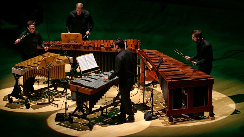 """A performance of """"Mallet Quartet"""" in a concert by the L.A. Philharmonic's New Music Group, which is celebrating composer Steve Reich."""