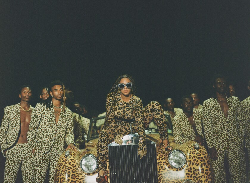 Beyoncé dons a leopard-print bodysuit for 'Black Is King' visual album.