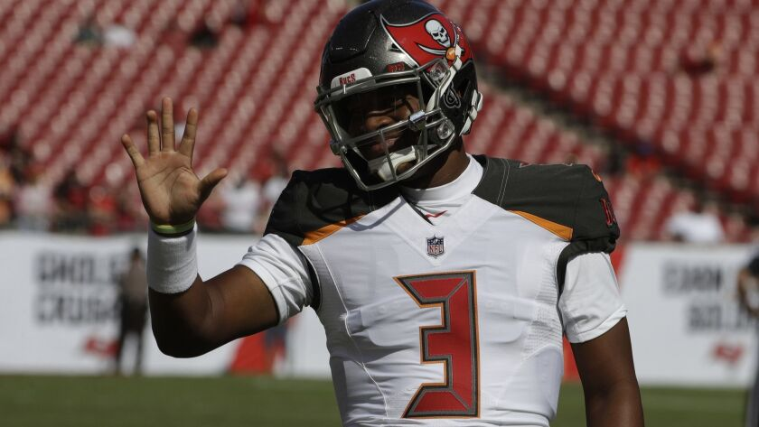 Tampa Bay Buccaneers quarterback Jameis Winston (3) saves before an NFL football game against the Sa