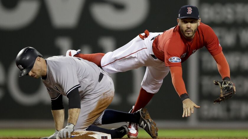 FILE - In this Oct. 5, 2018, file photo, Boston Red Sox second baseman Ian Kinsler forces New York Y