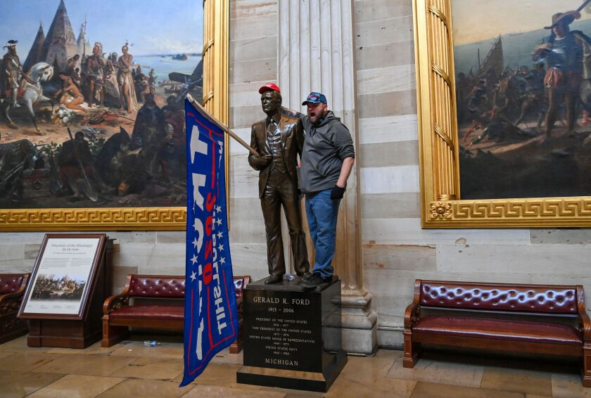 A Trump supporter in the Capitol