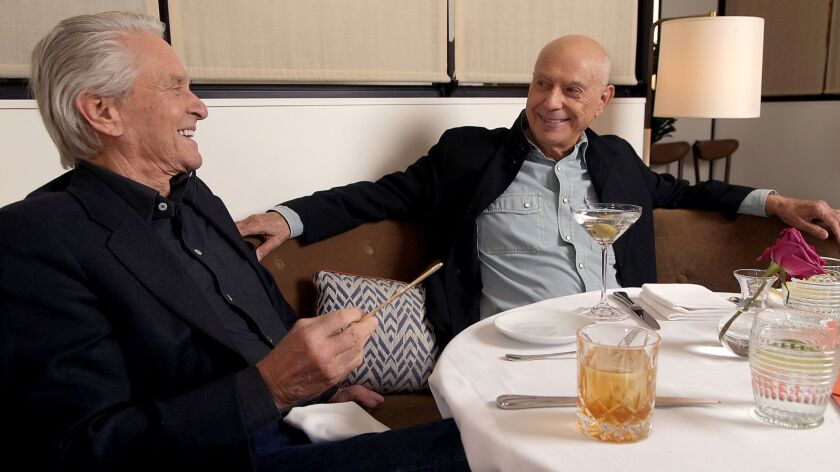 "Michael Douglas, left, and Alan Arkin star in the new Netflix senior-buddy comedy ""The Kominsky Method."""