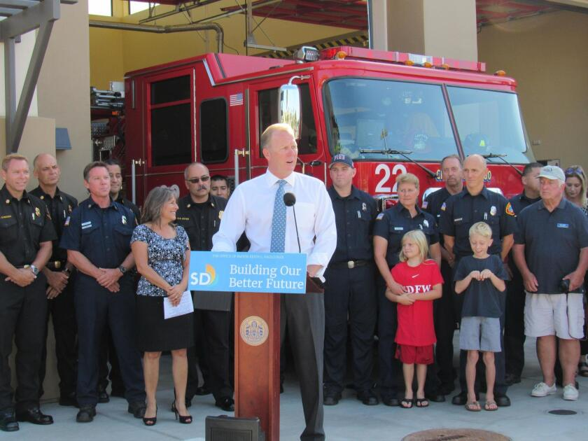 San Diego Mayor Kevin Faulconer dedicates the new Fire Station 22, on July 24 at 1055 Catalina Blvd.