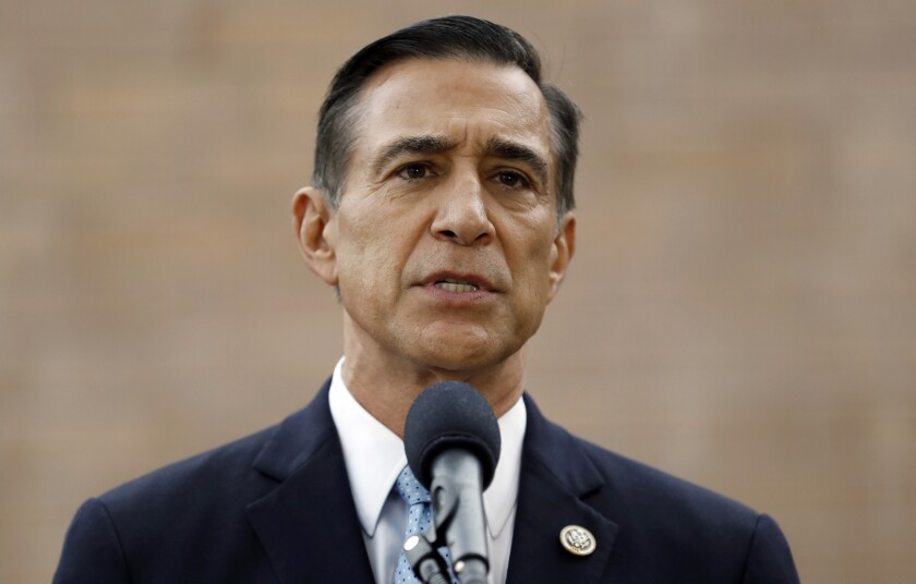 FILE - In this Sept. 26, 2019, file photo, former Republican congressman Darrell Issa speaks during a news conference in El Cajon, Calif. Democratic small businessman Ammar Campa-Najjar is trying to beat former nine-term GOP congressman, Issa, to flip Southern California's most conservative congressional district. Both candidates want to fill a seat left vacant by Duncan Hunter after the six-term GOP lawmaker pleaded guilty to a corruption charge for the misuse of campaign funds. (AP Photo/Gregory Bull, File)