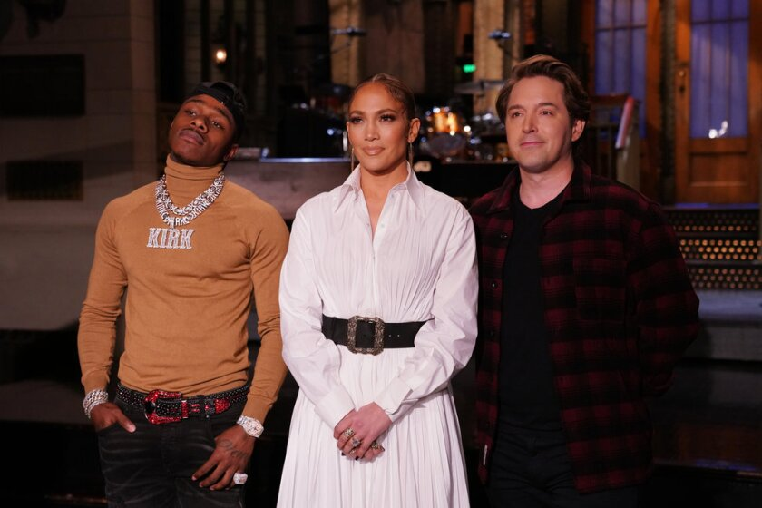 "DaBaby, Jennifer Lopez and Beck Bennett on ""Saturday Night Live."""