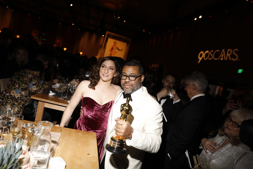 HOLLYWOOD, CA - March 4, 2018 Jordan Peele with wife Chelsea Peretti at the 90th Academy Awards