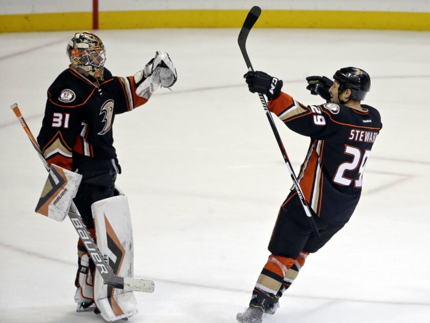 Anaheim Ducks right wing Chris Stewart, who scored the game-winning goal in a shoot out against the Florida Panthers, celebrates with goalie Frederik Andersen in an NHL hockey game Wednesday, Nov. 4, 2015, in Anaheim, Calif. Anaheim won 3-2. (AP Photo/Lenny Ignelzi)