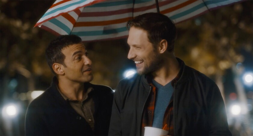 "Haaz Sleiman, left, and Michael Cassidy appear in a scene from the movie ""Breaking Fast."""