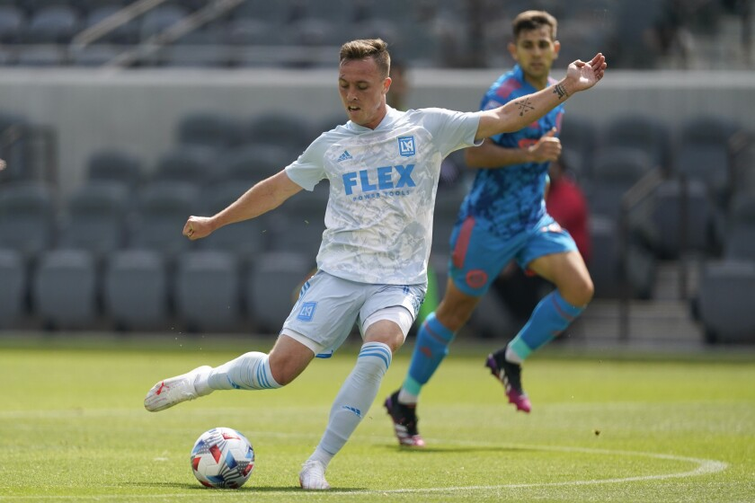 LAFC forward Corey Baird shoots the ball during a game against New York City FC.