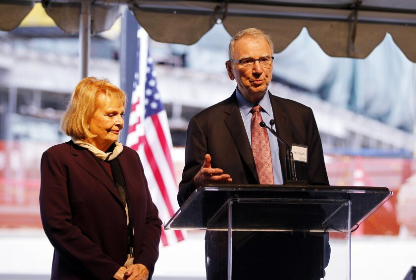 Joan and Irwin Jacobs in 2013, at the site of a UC San Diego hospital made possible by their donation.