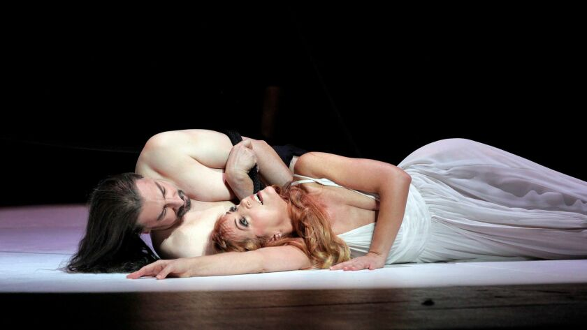 opera---Greer Grimsley is Jochanaan (John the Baptist) and Lise Lindstrom is Salome in in San Diego