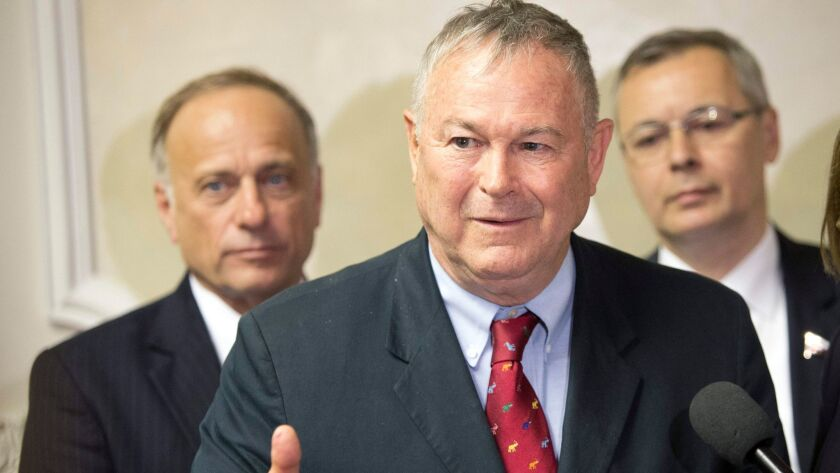 Rep. Dana Rohrabacher speaks to Russian lawmakers at a meeting in the Russian parliament's lower house in Moscow at the end of May 2013.