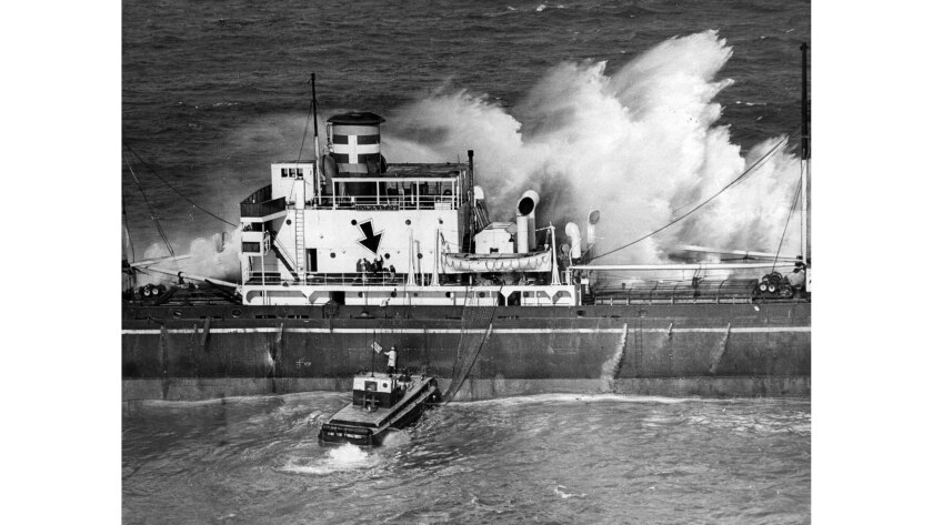 March 16, 1961: The crew of the Greek freighter Dominator is rescued from the ship during high surf.