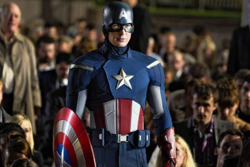 "Chris Evans as Captain America in ""The Avengers."""