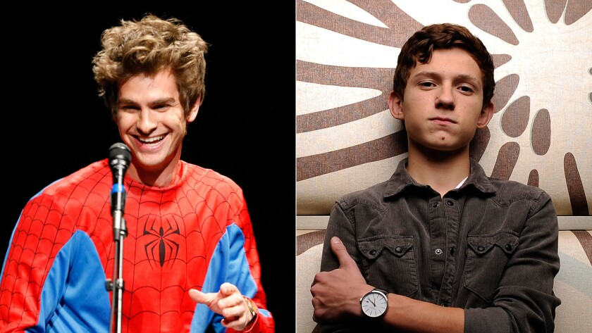 "Andrew Garfield, left, played Spider-Man in ""The Amazing Spider-Man"" and ""The Amazing Spider-Man 2."" Tom Holland has been cast as the superhero in the next Spider-Man movie."
