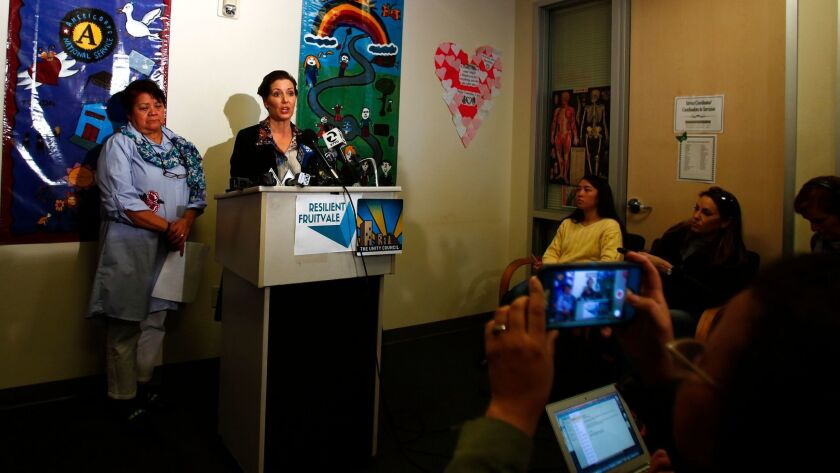 In this Sunday Feb. 25, 2018 photo, Oakland Mayor Libby Schaaf holds a press conference to address p