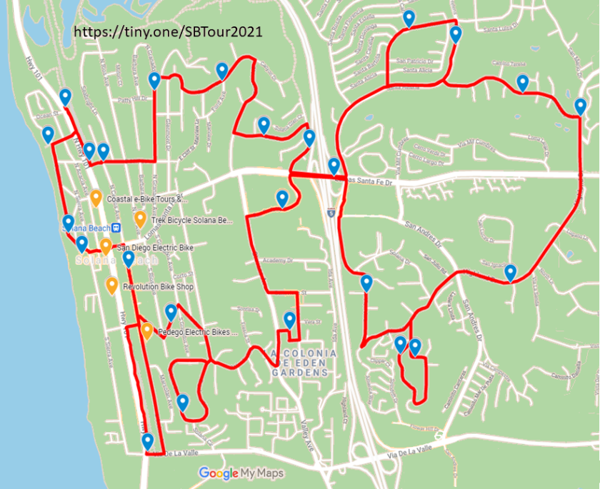 A tour map of the Tour of Solana Beach Self-Guided Scavenger Hunt.