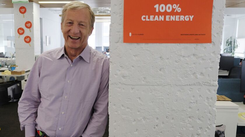 Billionaire environmental activist Tom Steyer at his offices in San Francisco. Arizona's largest utility is fiercely opposing a push to mandate increased use of renewable energy in the sun-drenched state, setting up a political fight over the measure funded by Steyer.