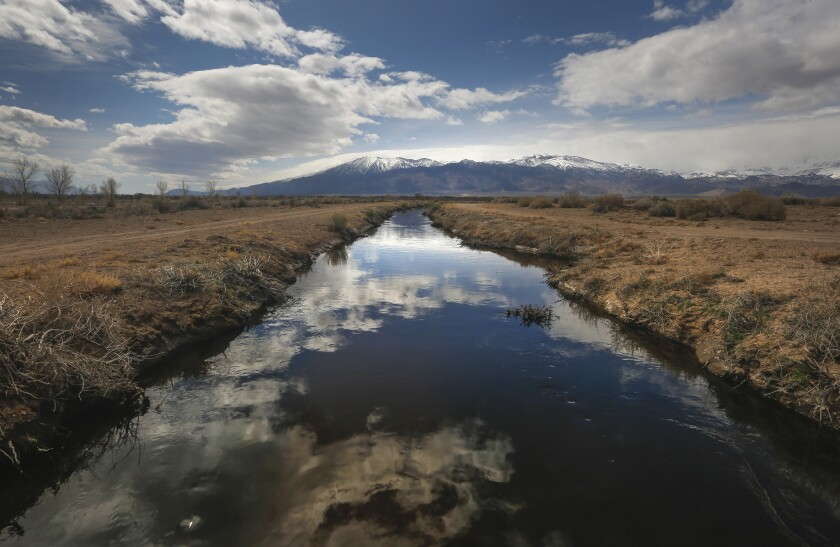 Clouds are reflected in the still waters of a channel off Fish Slough Road in Bishop this spring.