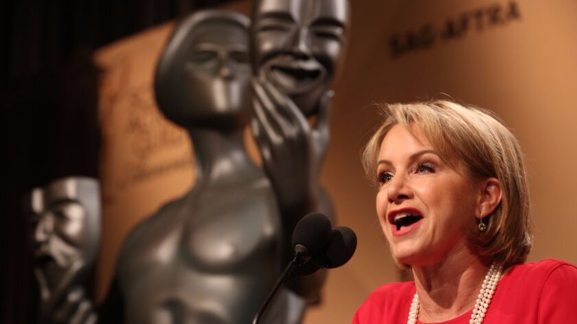 SAG-AFTRA said the vote is set to take place from Feb. 7 to March 8. Above, the union's president, Gabrielle Carteris.
