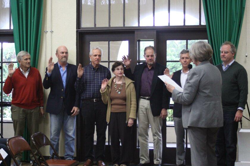 San Diego City Council President Sherri Lightner swears in LJCPA trustees (from left) Ray Weiss, Steve Haskins, Phil Merten, Helen Boyden, Glen Rasmussen, Patrick Ahern and Bob Steck.