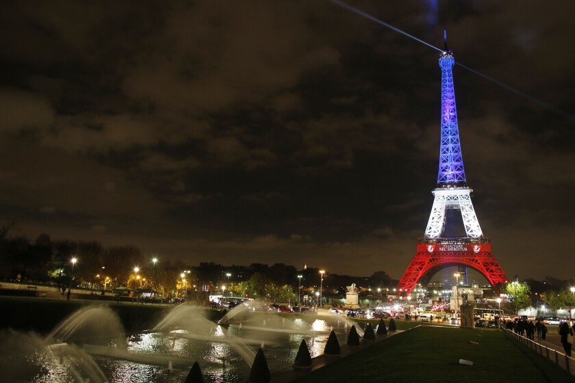 Eiffel Tower commemorating Paris attacks