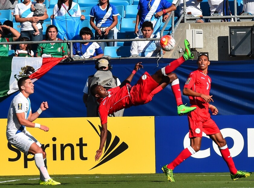 Cuba's Maikel Reyes does a bicycle kick during a CONCACAF Gold Cup Group C match against Guatemala in Charlotte, North Carolina, on July 15, 2015. AFP PHOTO/NICHOLAS KAMMNICHOLAS KAMM/AFP/Getty Images ** OUTS - ELSENT, FPG - OUTS * NM, PH, VA if sourced by CT, LA or MoD **