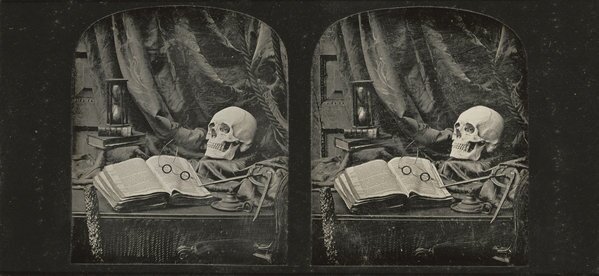 A still life with books, glasses, hourglass and a human skull. Thomas Richard Williams, daguerreotypist (English, 1825-1871) Vanitas/Still Life with Skull, Open Book with Glasses, and Hourglass/The Sands of Time, 1850-1852, stereograph, daguerreotype Two 1/6 plates image (each): 7 x 5.9 cm (2 3/4 x 2 5/16 in.); object (whole): 8.3 x 17.1 cm (3 1/4 x 6 3/4 in.)