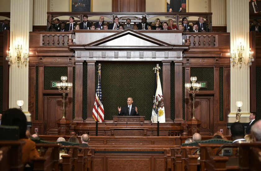 President Obama addresses the Illinois General Assembly in Springfield on Wednesday.