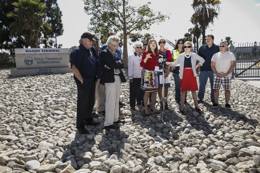 Rep. Loretta Sanchez (D-Orange) in September speaks at a gathering of fellow members of Congress and leaders in Long Beach to call for attention to the cargo delivery crisis due to the bankruptcy of one of the world's biggest container-shipping companies, Hanjin Shipping Co.