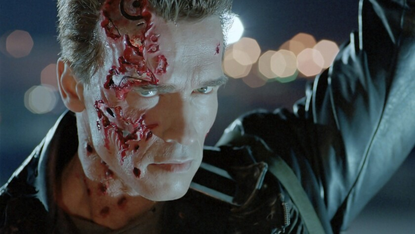 "Arnold Schwarzenegger in the 1991 movie ""Terminator 2: Judgment Day."""