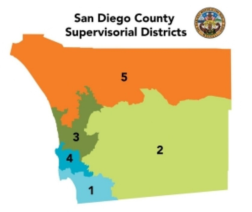 The current San Diego County district map.
