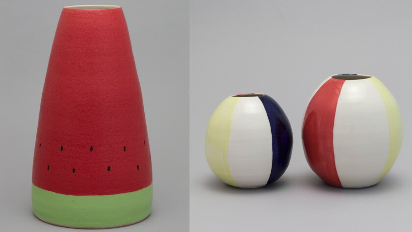Ceramics by Shio Kusaka — evoking, from left, a watermelon and beach balls — are on view at Blum & Poe.