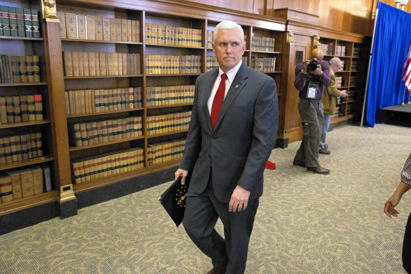 """""""Was I expecting this kind of backlash? Heavens no,"""" Indiana Gov. Mike Pence said during a televised news conference in Indianapolis."""