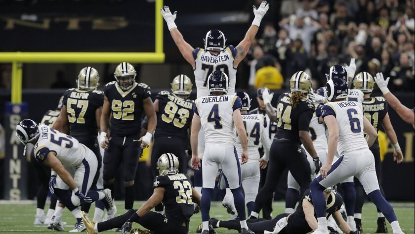 Los Angeles Rams kicker Greg Zuerlein reacts after his game-winning field goal in overtime of the NF