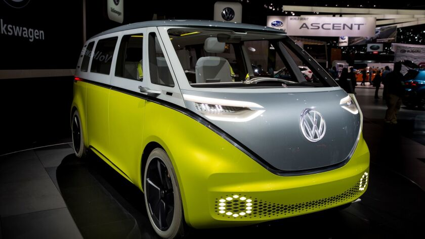 "LOS ANGELES, CA - NOVEMBER 30: The Volkswagen ID Buzz concept, at ""Automobility,"" the 2017 L.A. Auto"