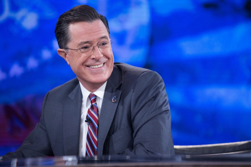 """Stephen Colbert, seen here on his former Comedy Central show """"The Colbert Report,"""" will host his first """"Late Show"""" Sept. 8 on CBS."""