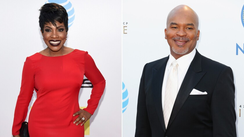 """Sheryl Lee Ralph of """"Moesha"""" and David Alan Grier of """"The Carmichael Show"""" on the NAACP Image Awards red carpet."""