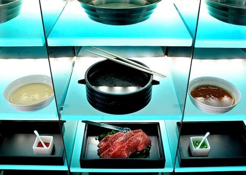 Shabu-shabu is served with Ohmi beef at Masa Takayama's new Shaboo restaurant in Las Vegas.