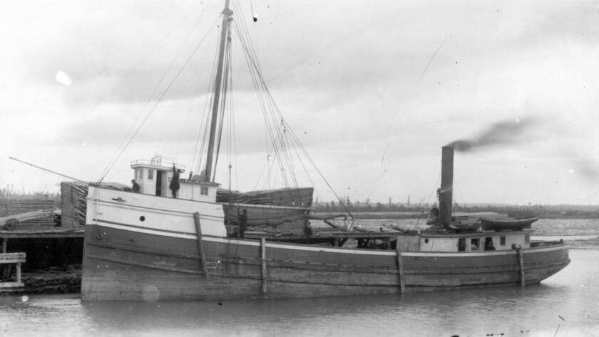 The J.M. Allmendinger, a wooden steamer that ran aground near Mequon, Wis., in 1895, now lies 15 fee