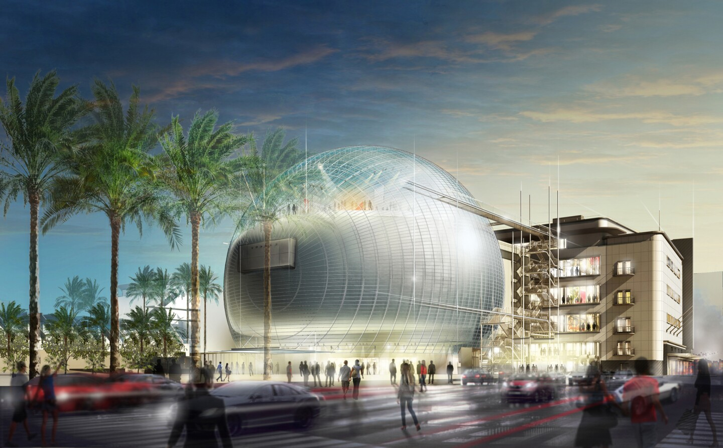 The Academy Museum will include a 1,000-seat theater to be added to the back of the old May Co. building at Wilshire Boulevard and Fairfax Avenue, adjacent to the campus of the Los Angeles County Museum of Art (in the background, left).