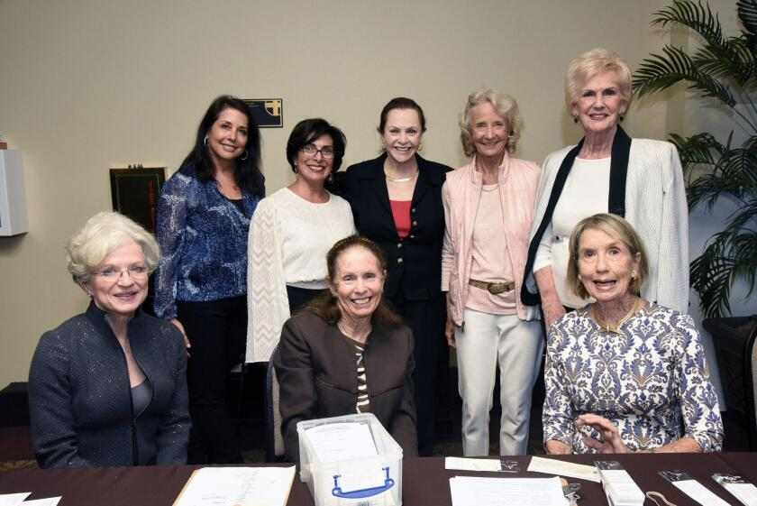 Community Concerts of Rancho Santa Fe board members- Standing: Sandra Conners, Roberta Arzola, Jan Clark, Sparkle Stiff. Seated: President Gail Kendall, Nancy Herrington, Mary Ann Smith