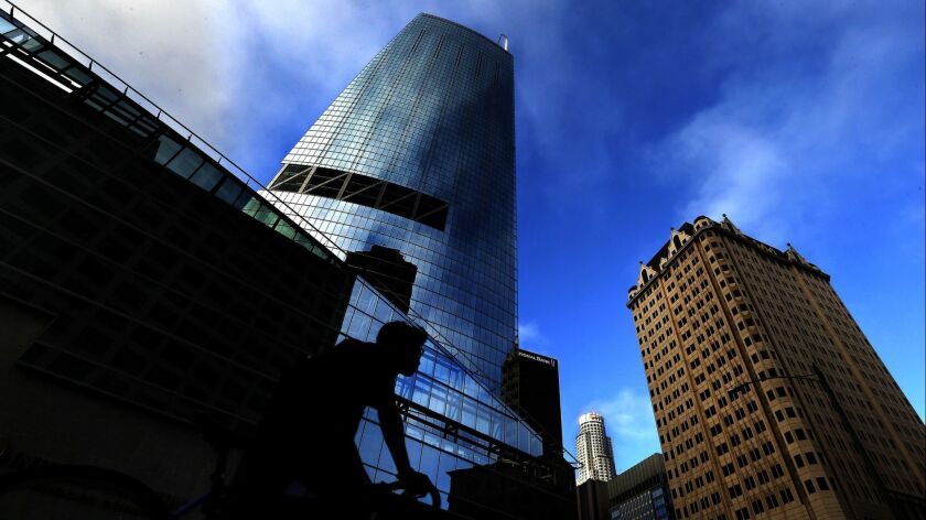 The Wilshire Grand, a 73-story skyscraper, is one of several projects to receive taxpayer help in downtown Los Angeles in recent years. City Controller Ron Galperin says there should be more analysis of whether the city's help is producing results.